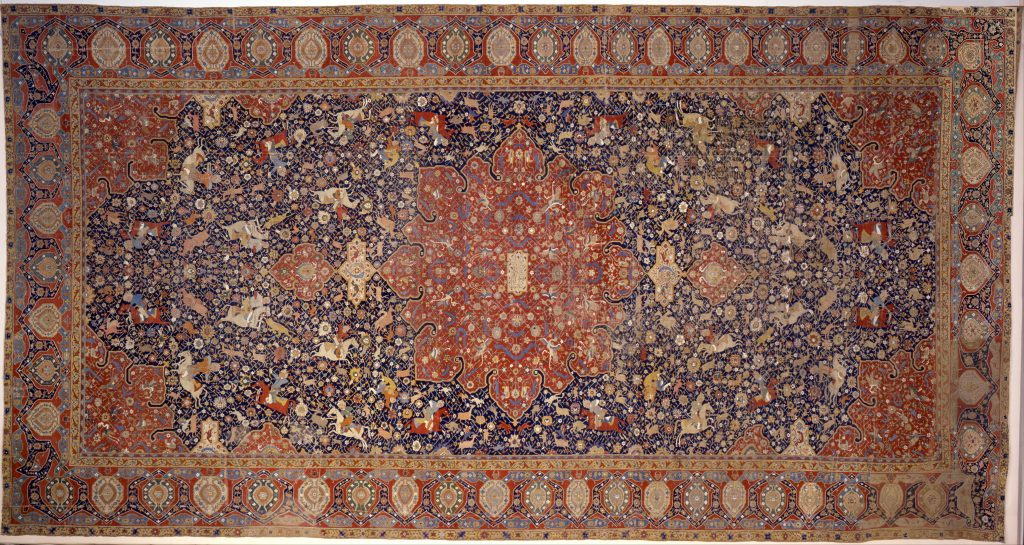 A woven carpet from the Tabriz region of Iran