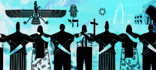 Image of people arm in arm with diverse religious symbols