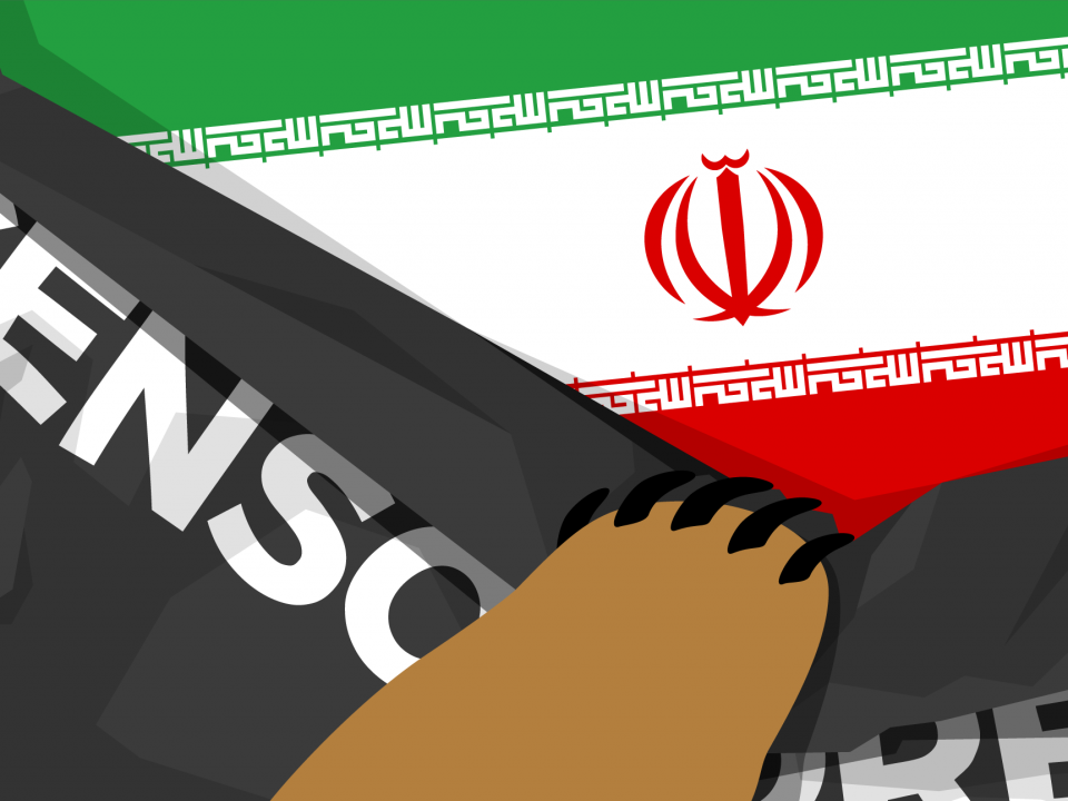 "Flag of Iran overlaid with a black banner labeled ""censorship"" and a bear's paw removing the black banner."